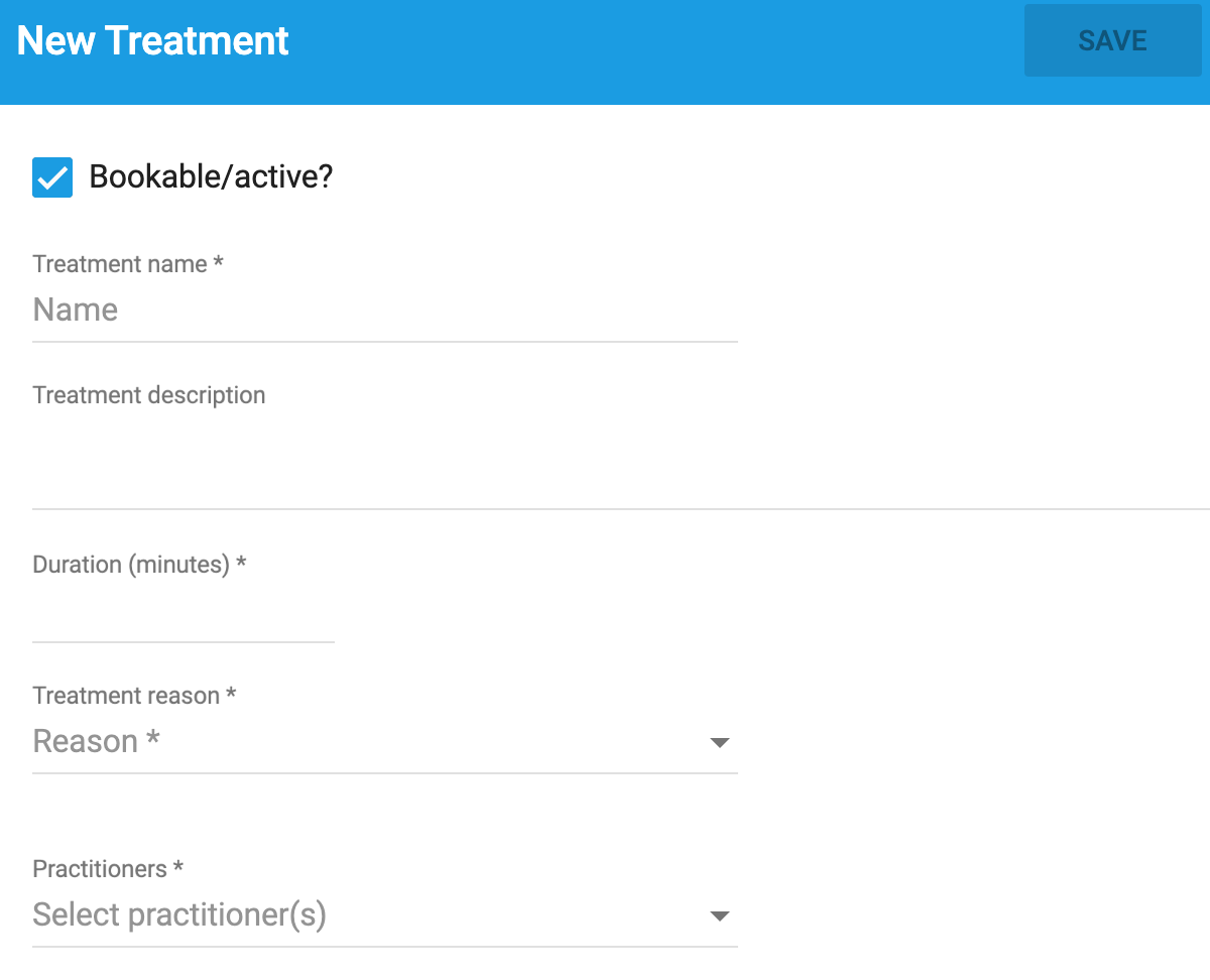 Dentally Patient Portal New Treatment form