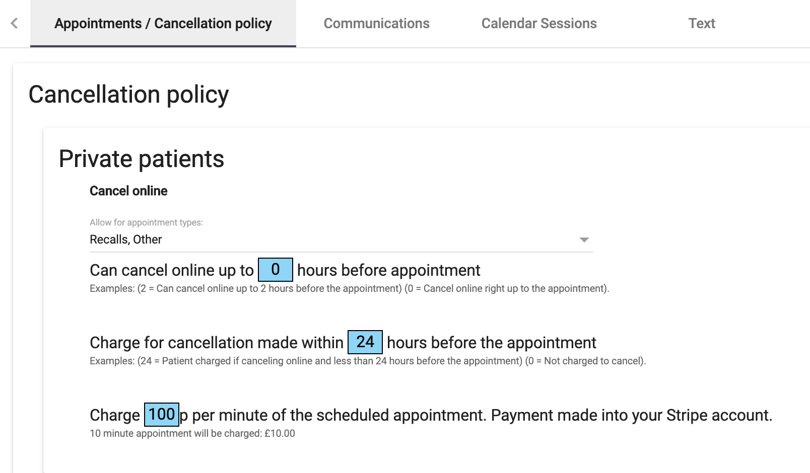 Dentally Patient Portal Cancellation Policy options