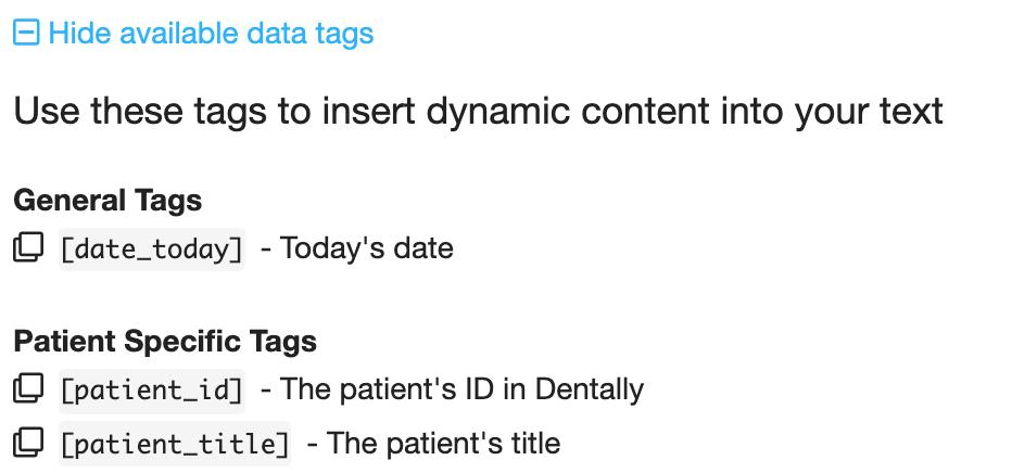 Dentally Templates Available data tags