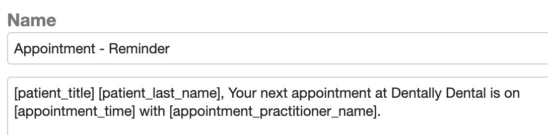 Dentally Template Appointment Reminder example