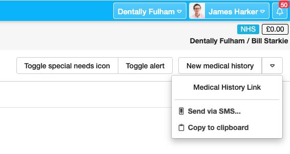 Dentally New Medical History via SMS